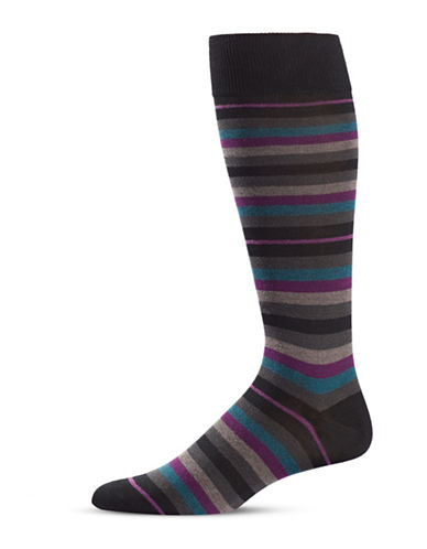 Black Brown 1826 Striped Mid-Calf Socks-BLACK-7-12