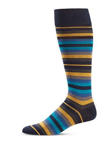Black Brown 1826 Striped Mid-Calf Socks-NAVY-7-12