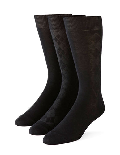 Calvin Klein Mens Three-Pack Bamboo Socks-BLACK-7-12
