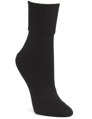 Mcgregor Wool turn down cuff crew sock-BLACK-One Size