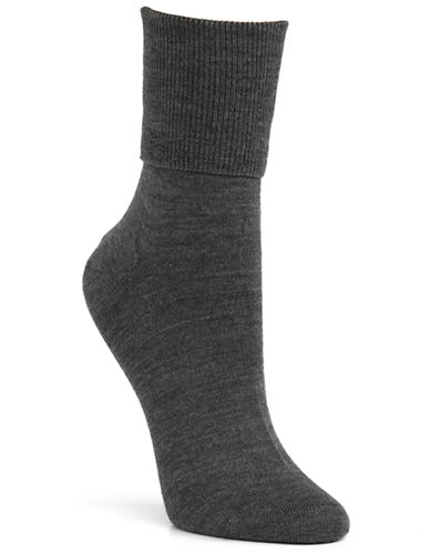 Mcgregor Wool turn down cuff crew sock-CHARCOAL-One Size