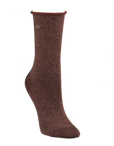 Calvin Klein Three-Pack Roll Top Socks-BROWN-One Size