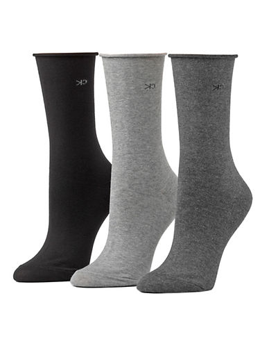 Calvin Klein Three-Pack Roll Top Socks-GREY-One Size