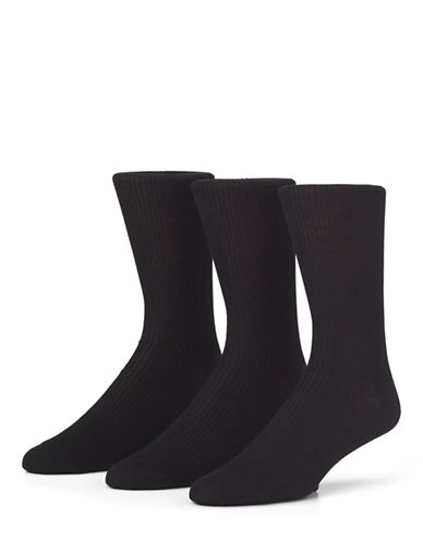 Mcgregor Mens Three-Pack Premium Non Elastic Crew Socks-BLACK-7-12