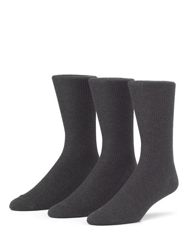 Mcgregor Mens Three-Pack Premium Non Elastic Crew Socks-CHARCOAL-7-12