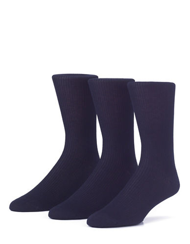 Mcgregor Mens Three-Pack Premium Non Elastic Crew Socks-NAVY-7-12