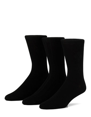 Mcgregor Mens Three-Pack Mercercized Cotton Crew Socks-BLACK-7-12