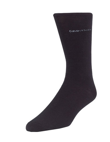 Calvin Klein Mens Egyptian-Cotton Blend Socks-BLACK-7-12