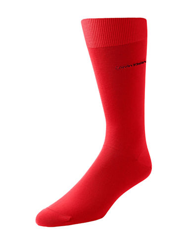 Calvin Klein Mens Egyptian-Cotton Blend Socks-RED-7-12