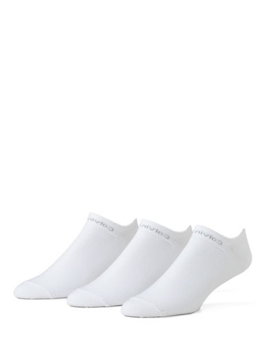 Calvin Klein 3 Pack Athletic Liner Socks-WHITE-7-12