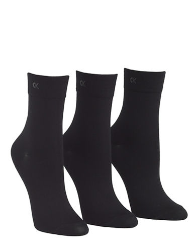 Calvin Klein 3 pack light touch short crew sock-BLACK-One Size