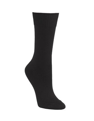 Mcgregor Wool flat knit crew sock-BLACK-One Size