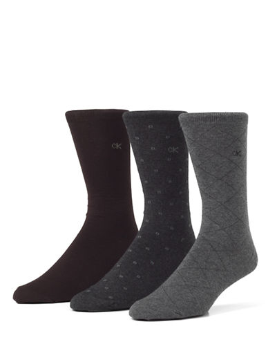 Calvin Klein Mens Three-Pair Assorted Dress Socks-GREY-7-12