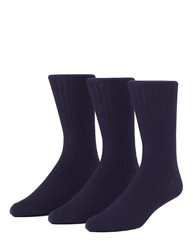 Mcgregor Wool Rib Crew Socks Three Pack-NAVY-7-12