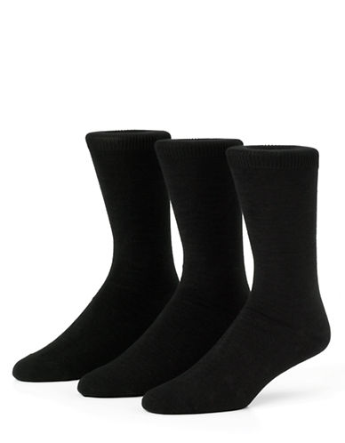 Mcgregor Mens Combed Cotton Flat Knit Crew Socks Three-Pack-BLACK-7-12