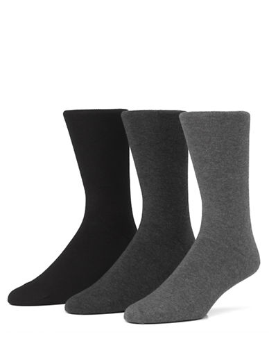 Mcgregor Mens Combed Cotton Flat Knit Crew Socks Three-Pack-GRAPHITE-7-12