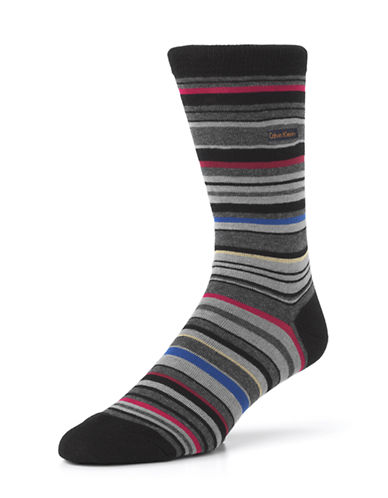 Calvin Klein Mens Barcode Multi Stripe Crew Socks-BLACK-7-12