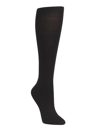 Mcgregor Wool flat knit knee high sock-BLACK-One Size