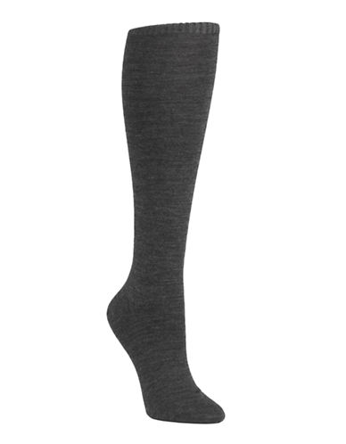 Mcgregor Wool flat knit knee high sock-CHARCOAL-One Size