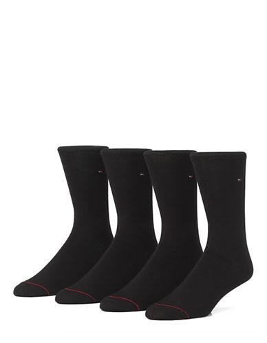 Tommy Hilfiger Mens Four-Pack Flat Knit Crew Socks-BLACK-7-12