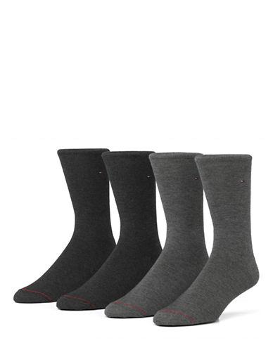 Tommy Hilfiger Mens Four-Pack Flat Knit Crew Socks-ASSORTED-7-12
