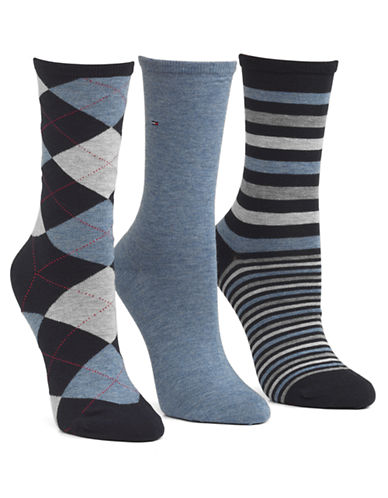 Tommy Hilfiger 3 Pair Argyle and Stripe Crew Socks-CHAMBRAY-One Size