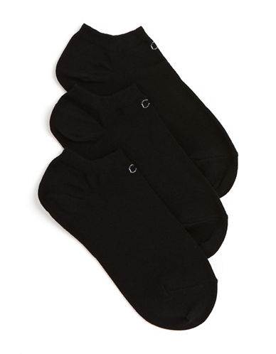 Calvin Klein Three-Pair No Show Logo Liner Socks-BLACK-One Size