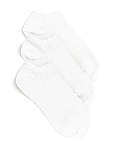 Calvin Klein Three-Pair No Show Logo Liner Socks-WHITE-One Size