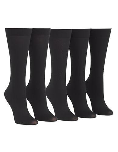 Mcgregor 5pk pattern knee high trouser sock-BLACK-One Size