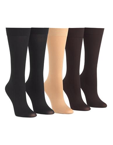 Mcgregor 5pk pattern knee high trouser sock-DARK BROWN-One Size