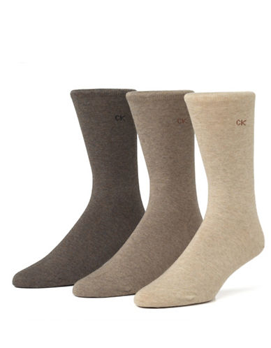 Calvin Klein Mens Three-Pack Flat Knit Socks-ASSORTED-7-12
