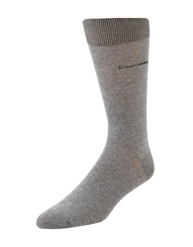 Calvin Klein Mens Egyptian-Cotton Blend Socks-WHITE-7-12