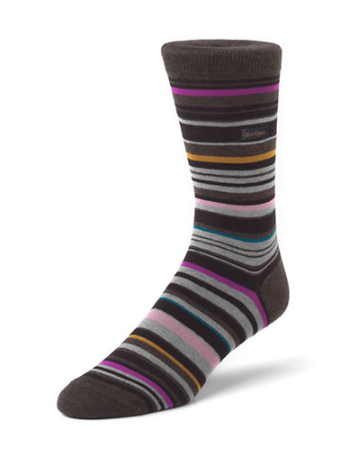 Calvin Klein Mens Barcode Multi Stripe Crew Socks-BROWN-7-12