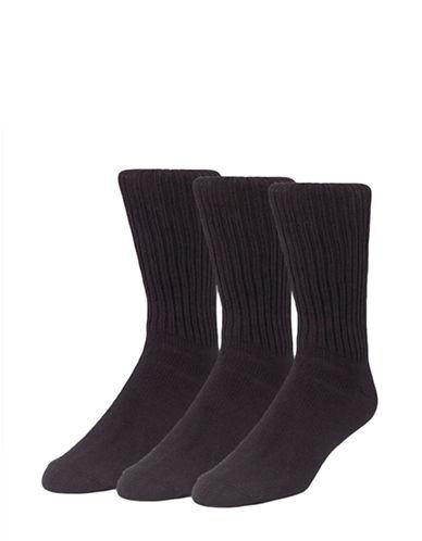 Calvin Klein Mens Three-Pack Ribbed Socks-BLACK-7-12