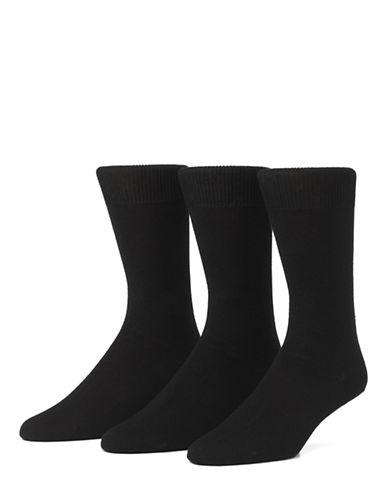 Mcgregor Mens Three-Pack Small Size Flat Knit Socks-BLACK-6-9