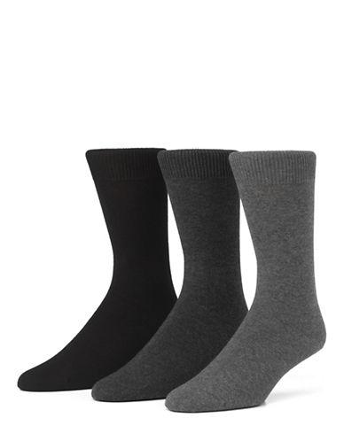 Mcgregor Mens Three-Pack Small Size Flat Knit Socks-GREY-6-9