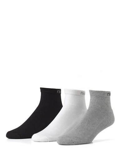 Calvin Klein 3 Pair Athletic Quarter-CHARCOAL-7-12