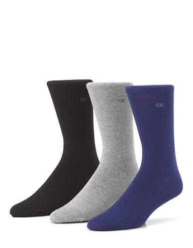 Calvin Klein Mens Three-Pack Flat Knit Socks-DENIM-7-12