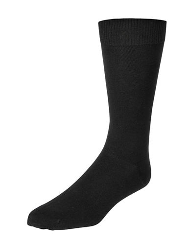 Mcgregor Mens Three-Pack Flat Knit XL Crew Socks-BLACK-12-16