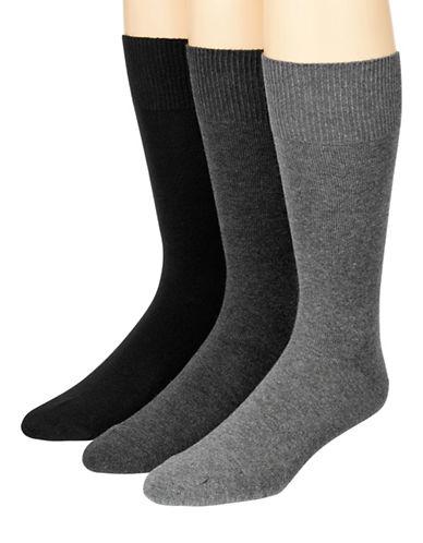 Mcgregor Mens Three-Pack Flat Knit XL Crew Socks-CHARCOAL-12-16