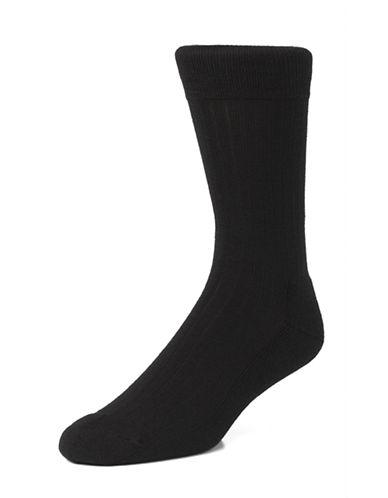 Mcgregor Mens Wool Rib Crew Socks-BLACK-7-12