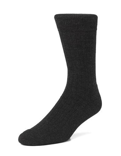 Mcgregor Mens Wool Rib Crew Socks-CHARCOAL-7-12