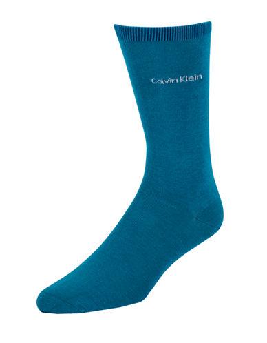 Calvin Klein Mens Egyptian-Cotton Blend Socks-ROYAL-7-12