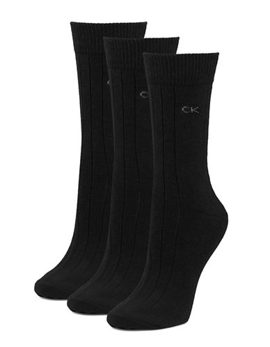 Calvin Klein Three-Pair Combed Cotton Socks-BLACK-One Size