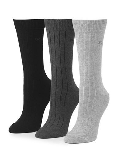 Calvin Klein Three-Pair Combed Cotton Socks-CHARCOAL-One Size