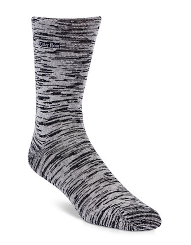 Calvin Klein Mens Signature Flat Knit Socks-BLACK-7-12