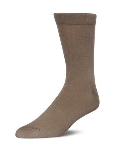 Mcgregor Flat-Knit Non-Elastic Crew Socks-BROWN-7-12
