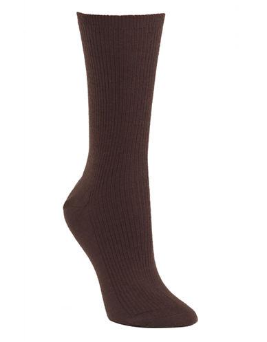 Mcgregor wool non elastic rib crew sock-BROWN-One Size