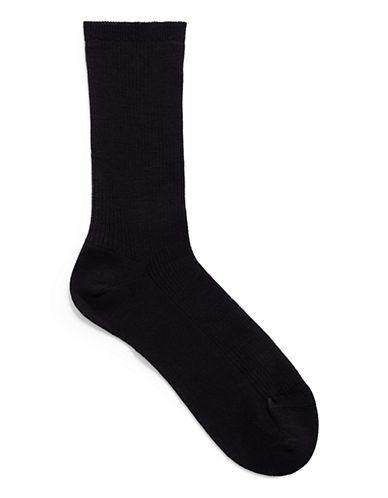 Mcgregor wool non elastic rib crew sock-NAVY-One Size