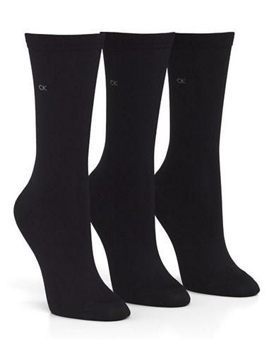 Calvin Klein Calvin Klein 3 Pair Microfiber Crew-BLACK-One Size